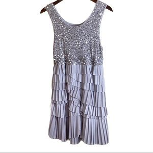 Alice & Olivia Silver Sequin Tiered Skirt Dress